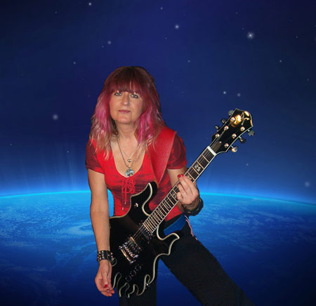 Minarik Inferno Guitar Black with Female Blues Guitarist Shredmistress